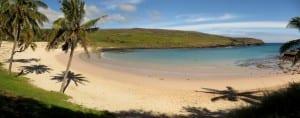 Plage d'Anakena sur l'île de Pâques